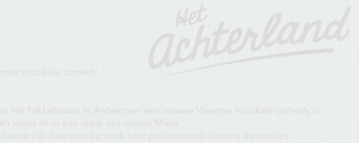 Audities: Vlaamse muzikale comedy van Het Achterland