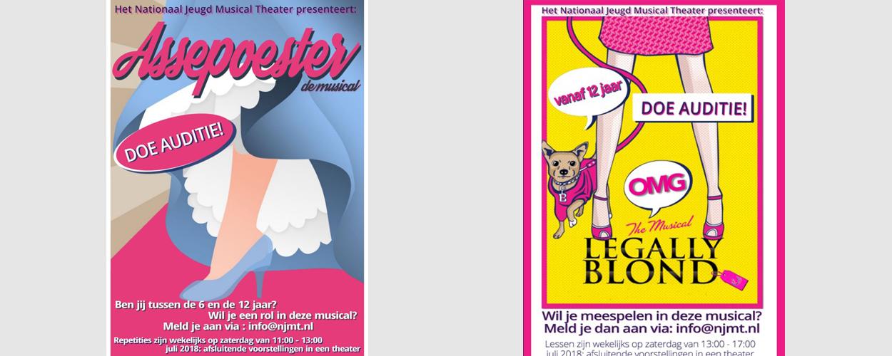 Audities: Assepoester en Legally Blonde van het Nationaal Jeugd Musical Theater