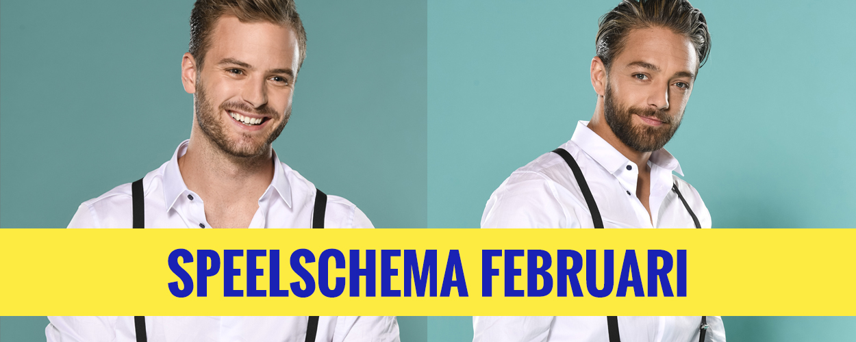 Speelschema februari van Jim Bakkum en Tommie Christiaan in On Your Feet!
