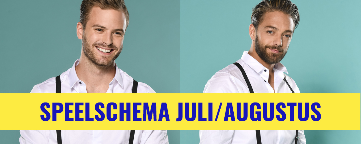Speelschema Jim Bakkum en Tommie Christiaan in On Your Feet! voor juli en augustus