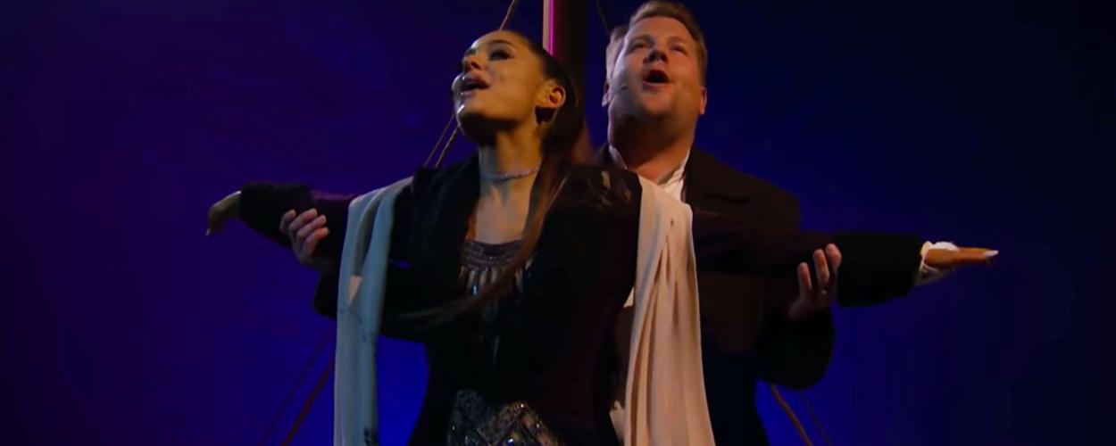 James Corden en Ariana Grande maken musicalversie van Titanic