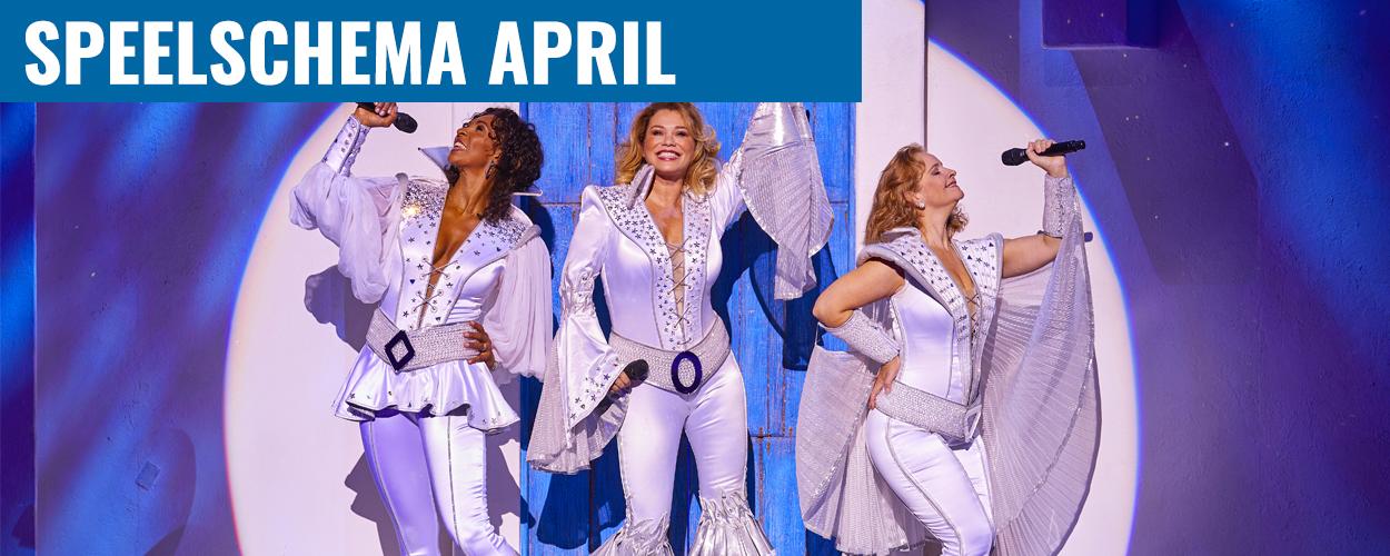 Speelschema april Antje Monteiro en Nurlaila Karim in Mamma Mia!