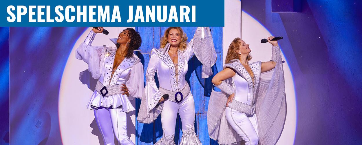 Speelschema januari Antje Monteiro en Nurlaila Karim als Donna in Mamma Mia!