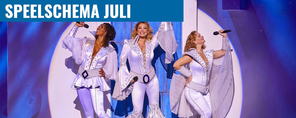 Speelschema juli Antje Monteiro en Nurlaila Karim als Donna in Mamma Mia!