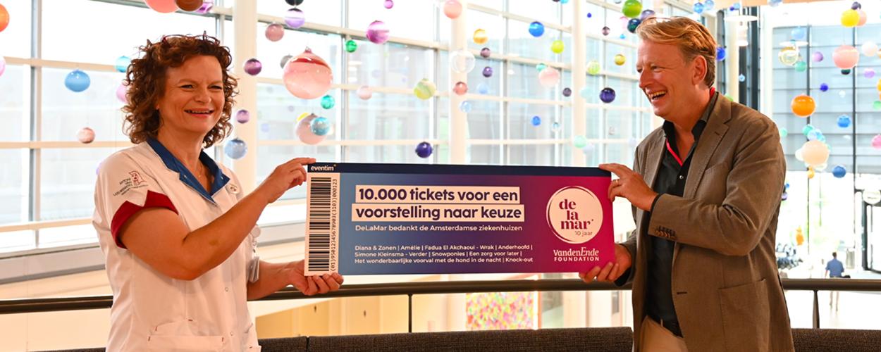 DeLaMar viert 10-jarig jubileum met cadeau aan Amsterdamse ziekenhuizen